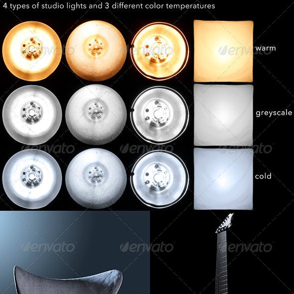4 types of studio lights HDR