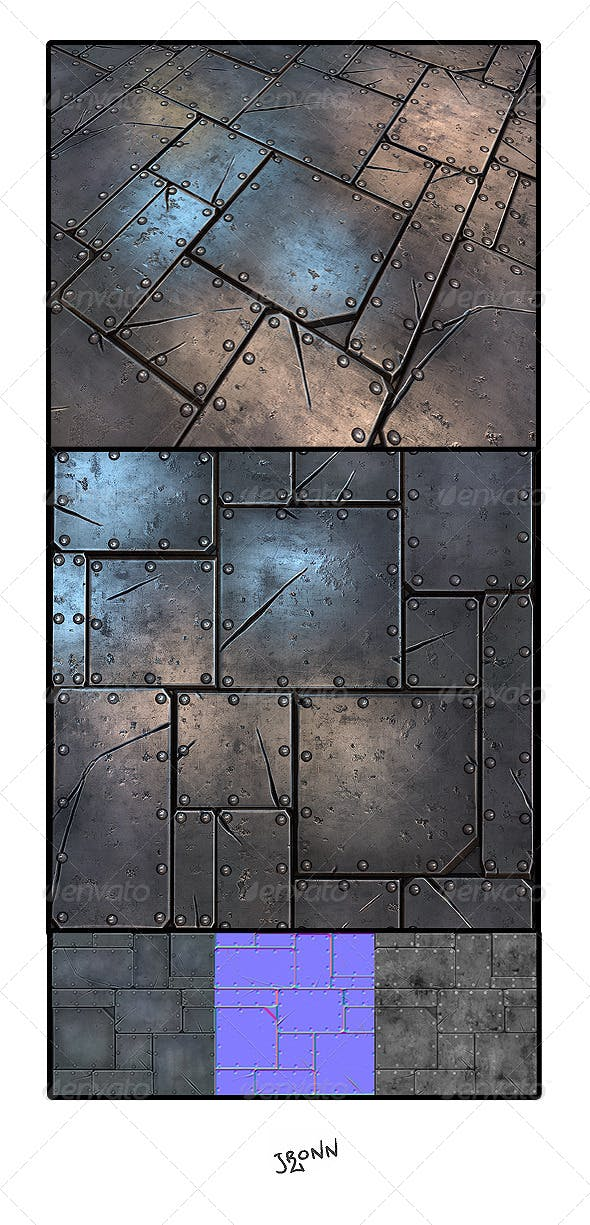 Metal Plate Tile 01 - 3DOcean Item for Sale