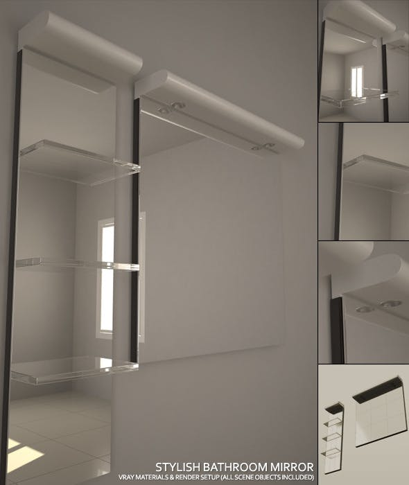 Stylish Bathroom Mirror Set + Complete Vray Setup - 3DOcean Item for Sale