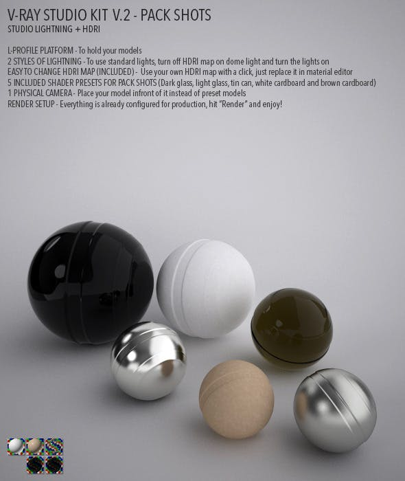 Vray Studio Setup v.2 - Pack Shots - 3DOcean Item for Sale