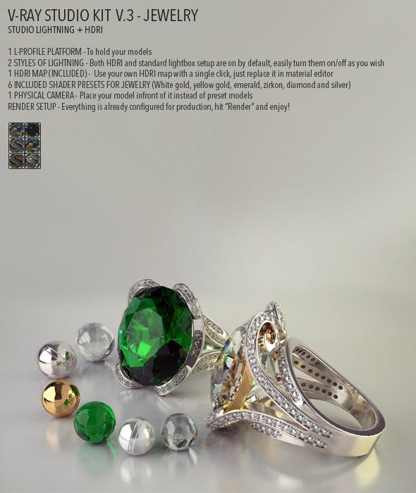 Vray Studio Setup v.3 - Jewelry - 3DOcean Item for Sale