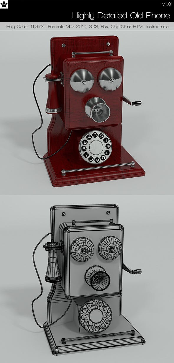 Highly Detailed Old Phone - 3DOcean Item for Sale