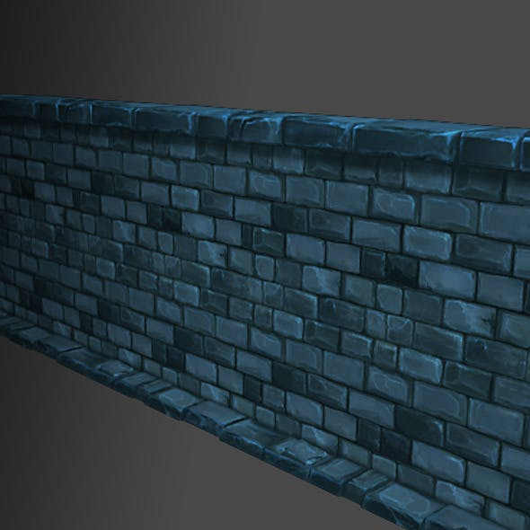 Low Poly Modular Dungeon Stone Wall Segment