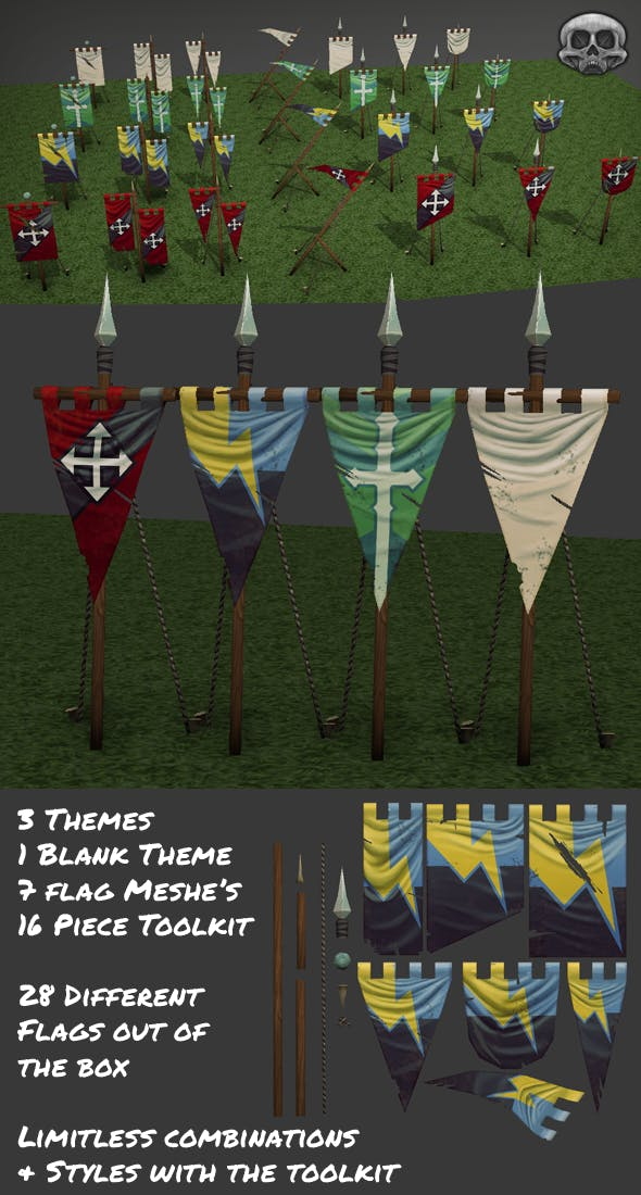 Hand Painted Low Poly Flag Set - 3DOcean Item for Sale