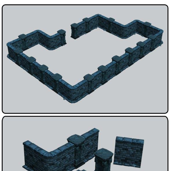 Modular Dungeon Stone Wall Segment 01