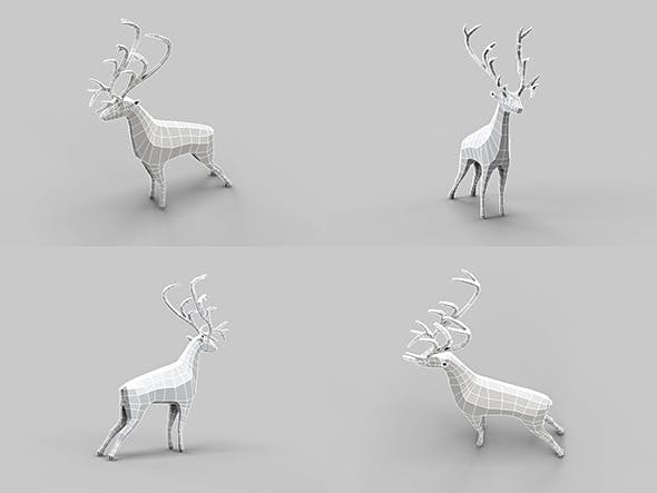 Low Poly Mesh Old Deer - 3DOcean Item for Sale