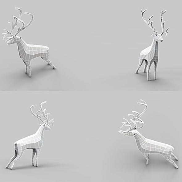 Low Poly Mesh Old Deer