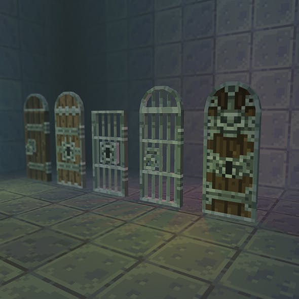 Low Poly 3D Pixel Door Set 01
