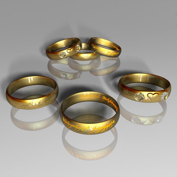 Collection of the golden rings - 3DOcean Item for Sale