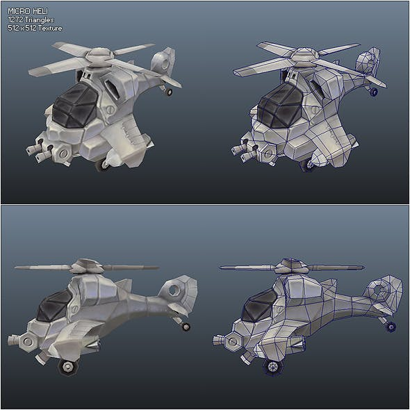 Low Poly Micro Heli - 3DOcean Item for Sale