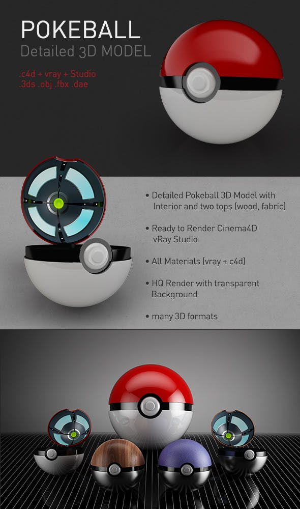 Pokeball - 3DOcean Item for Sale