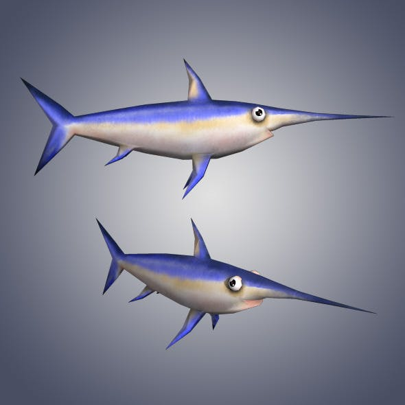 Low Poly Sword Fish - 3DOcean Item for Sale