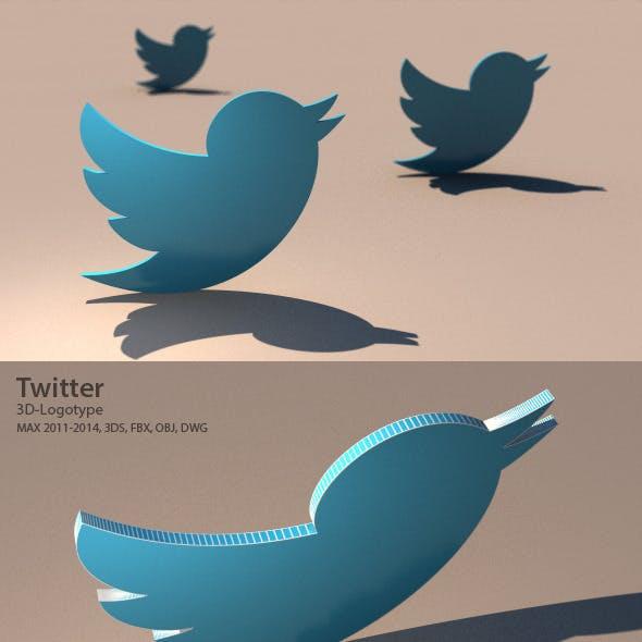 Twitter 3D Logotype