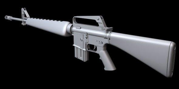 Hi-poly M16A1 Assault Rifle - 3DOcean Item for Sale