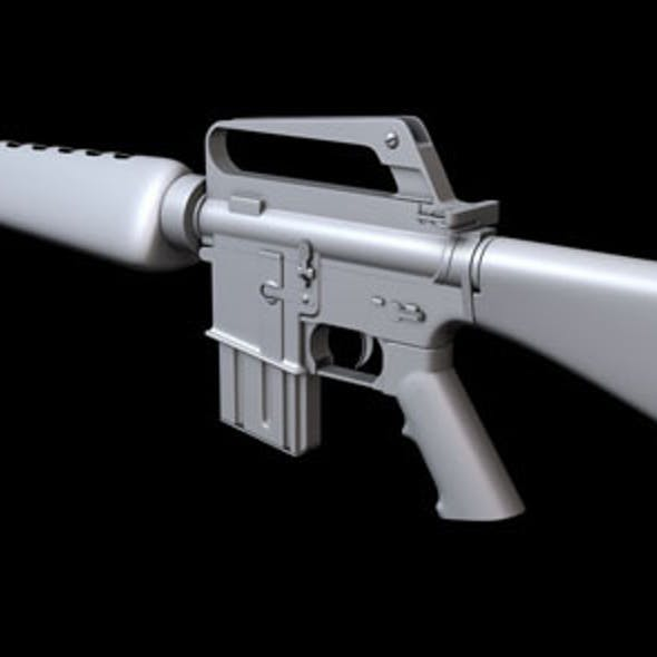 Hi-poly M16A1 Assault Rifle