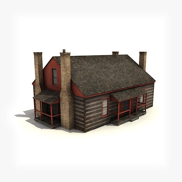Wooden house building (low-poly).