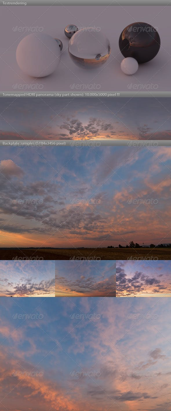 HDRI spherical sky panorama -1900- red evening sky - 3DOcean Item for Sale