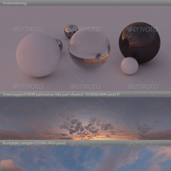 HDRI spherical sky panorama -1900- red evening sky