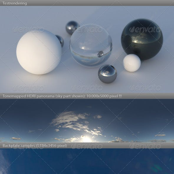 HDRI spherical sky panorama -1556- sun noon clouds
