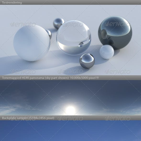 HDRI spherical sky panorama -1532- blue sun sky