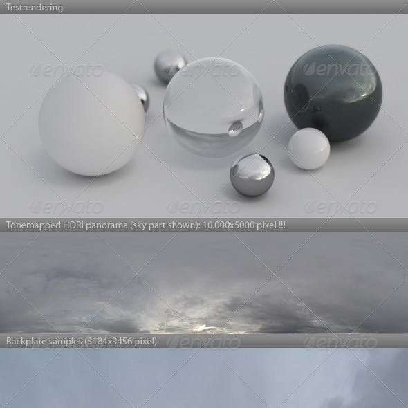 HDRI spherical sky panorama -1107- overcast sky