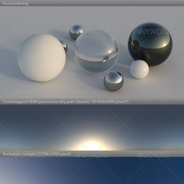 HDRI spherical sky panorama -0821- misty dawn sun