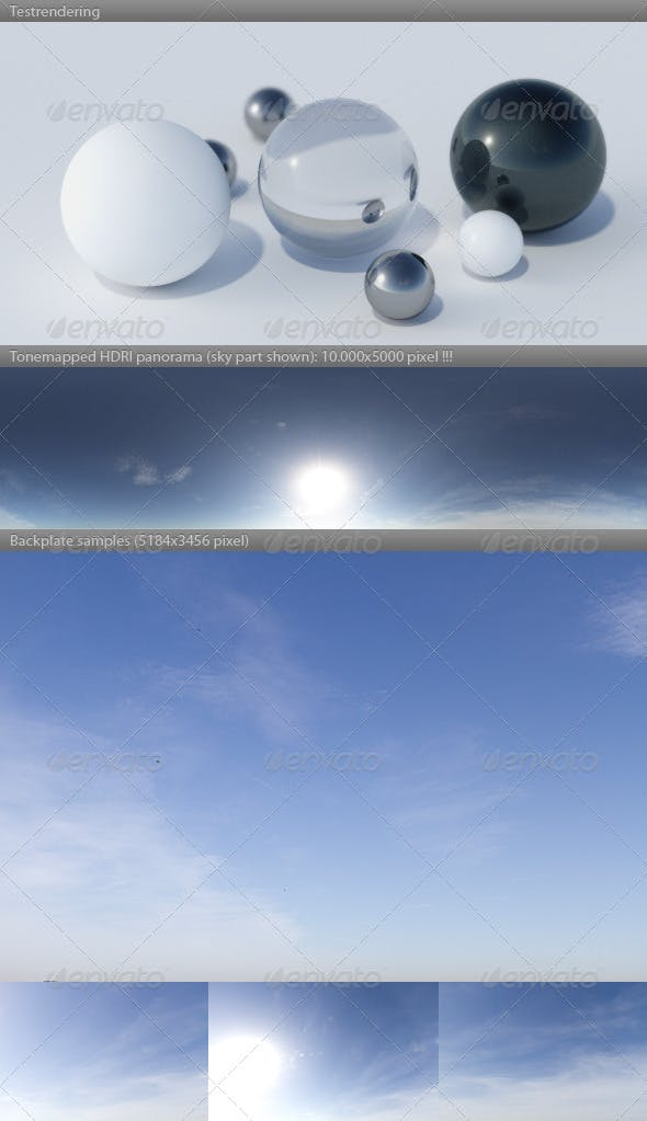 HDRI spherical sky panorama -1218- summer sun sky - 3DOcean Item for Sale