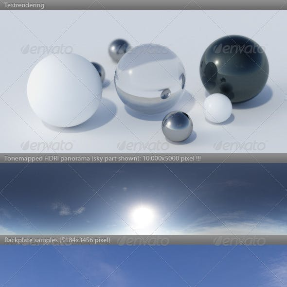 HDRI spherical sky panorama -1218- summer sun sky