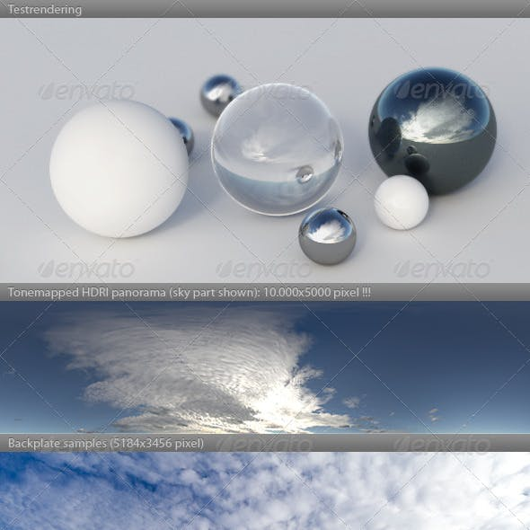HDRI spherical sky panorama -1548- blue sky clouds