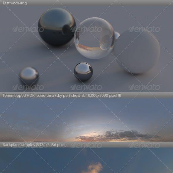 HDRI spherical sky panorama -1841- sunny sunset