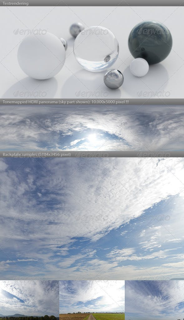 HDRI spherical sky panorama -1045- blue sun cloudy - 3DOcean Item for Sale