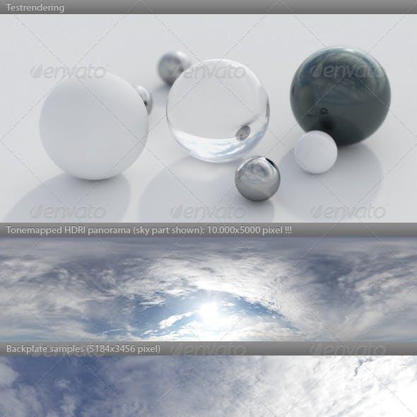 HDRI spherical sky panorama -1045- blue sun cloudy