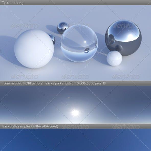 HDRI spherical sky panorama -1232- sun blue sky