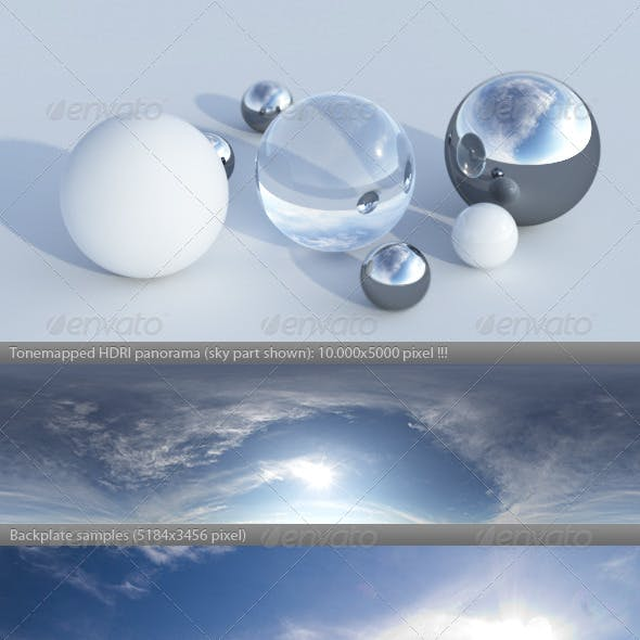 HDRI spherical sky panorama -1844- evening sun