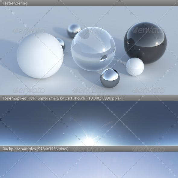 HDRI spherical sky panorama -1720- clear sunny