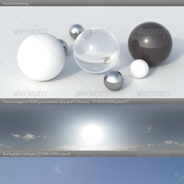 HDRI spherical sky panorama -1654- summer sunny