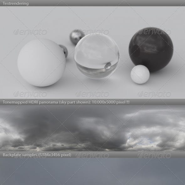 HDRI spherical sky panorama -1400- gloomy & cloudy