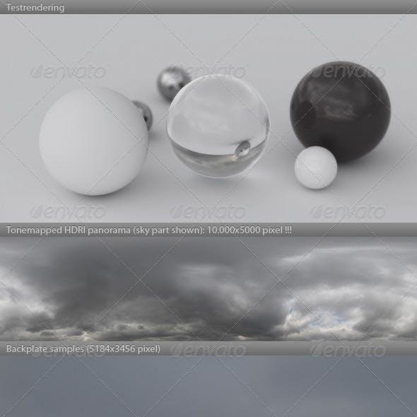 HDRI spherical sky panorama -1400- gloomy & cloudy