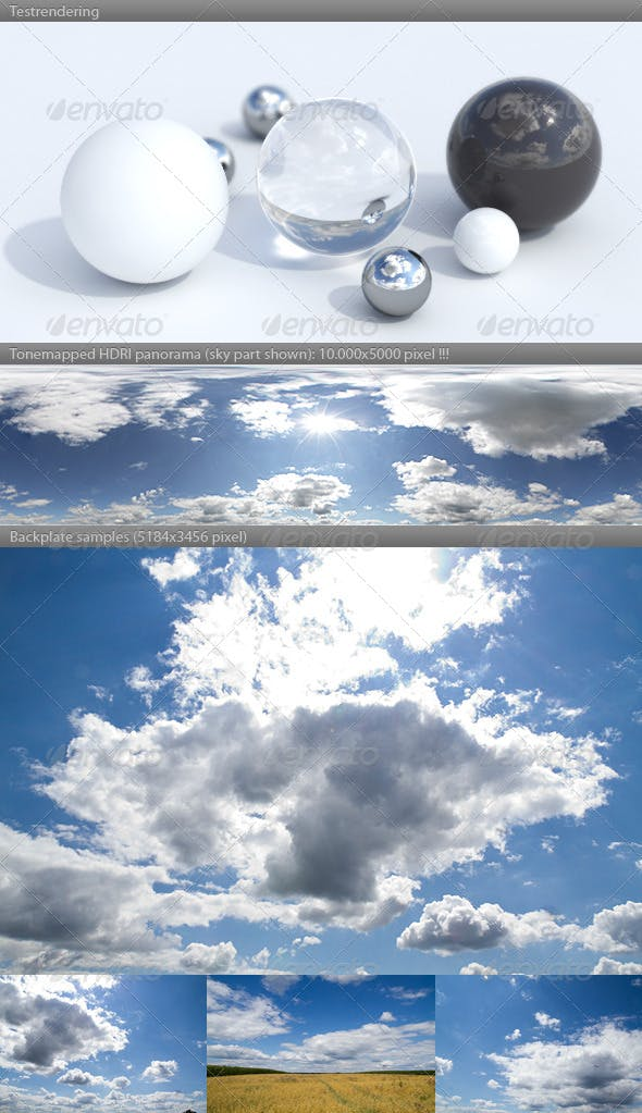 HDRI spherical sky panorama -1439- sunny noon sky - 3DOcean Item for Sale