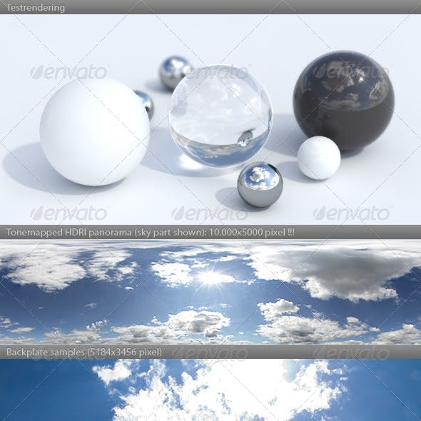 HDRI spherical sky panorama -1439- sunny noon sky