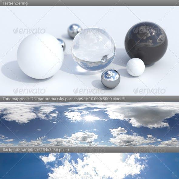 HDRI spherical sky panorama -1439- sunny noon sky