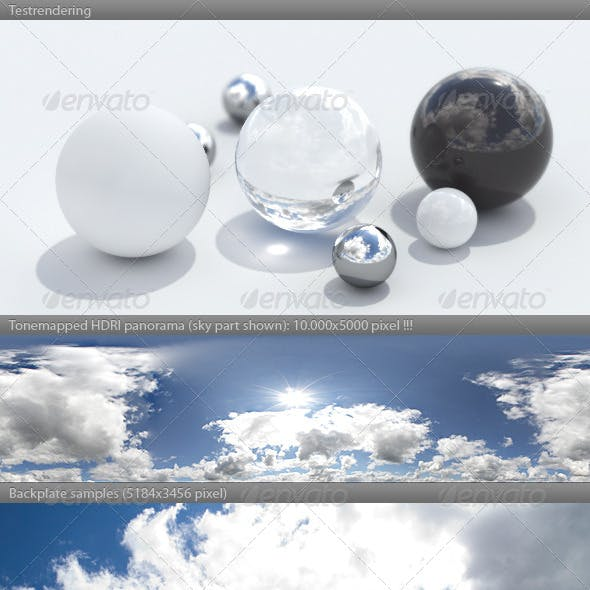 HDRI spherical sky panorama - 1158 - sunny clouds
