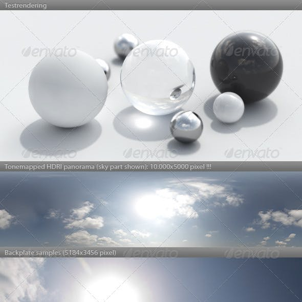 HDRI spherical sky panorama -1050- sunny morning