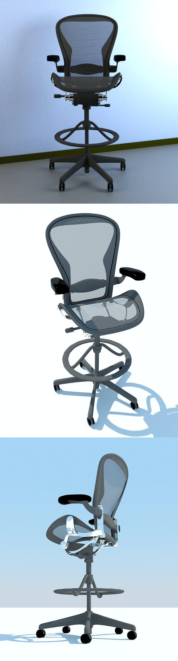 Aeron Work Stool Chair Herman Miller MAX 2011 - 3DOcean Item for Sale
