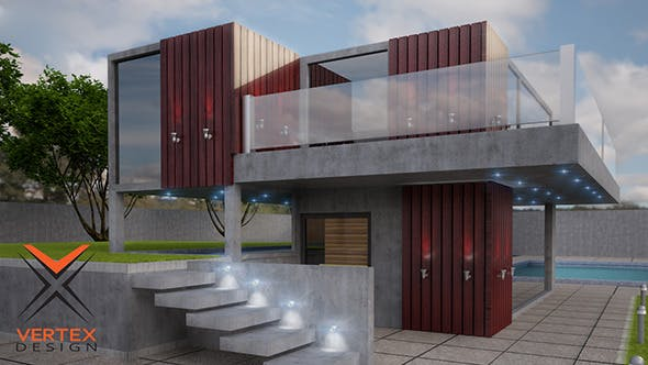Summer House Ready For Exterior Rendering - 3DOcean Item for Sale