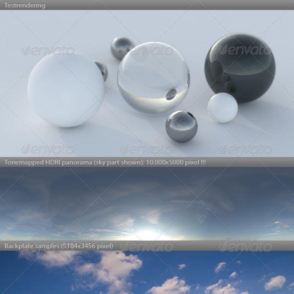 HDRI spherical sky panorama -1839- summer sunset
