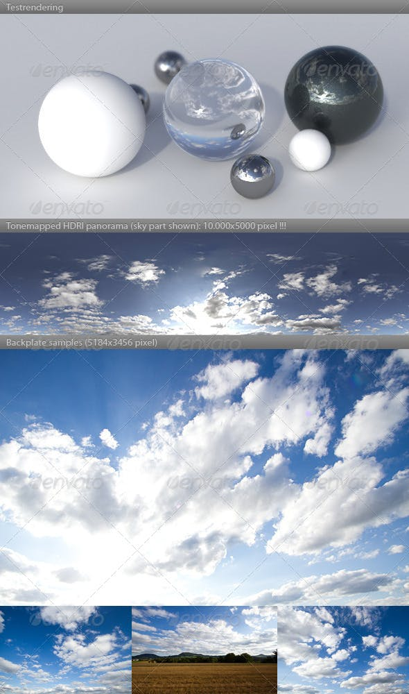 HDRI spherical sky panorama -1747- sun clouds - 3DOcean Item for Sale