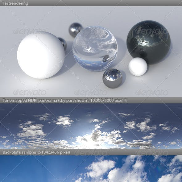 HDRI spherical sky panorama -1747- sun clouds
