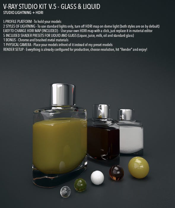 Vray Studio Setup v.5 - Glass & Liquid - 3DOcean Item for Sale