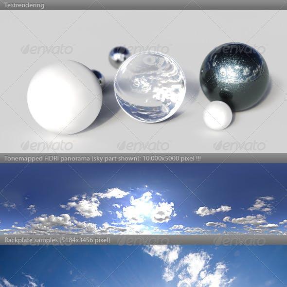 HDRI spherical sky panorama -1547- sun clouds